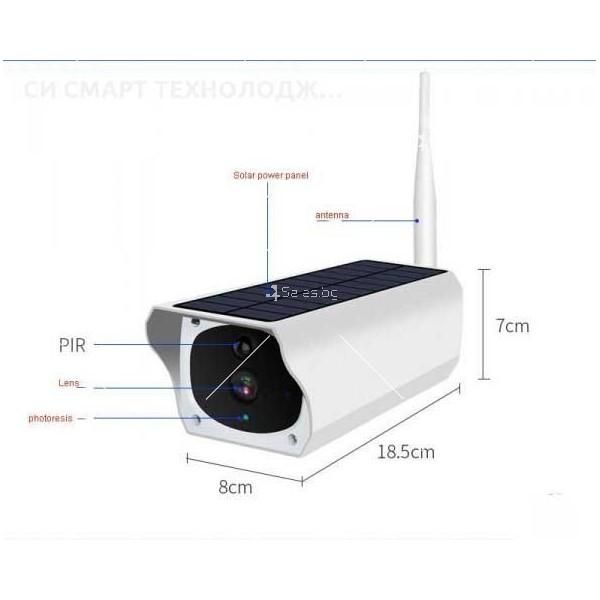 Соларна Водоустойчива Wifi камера, FUll HD, x4 zoom, безжична, външен монтаж 2