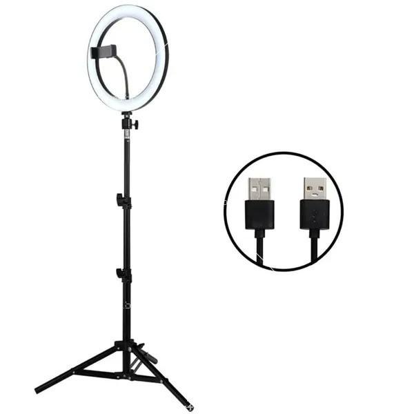 LED лампа за селфи 26 см с трипод, който се разгъва до 180 см 4