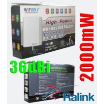 Ralink 2000mw RT3070 Wifisky 36dBi 5m ново