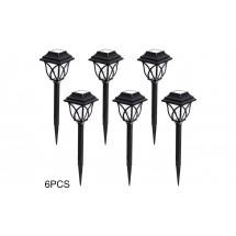 Комплект 6 броя соларни лампи за осветяване на алеи и пътеки в градината H LED32