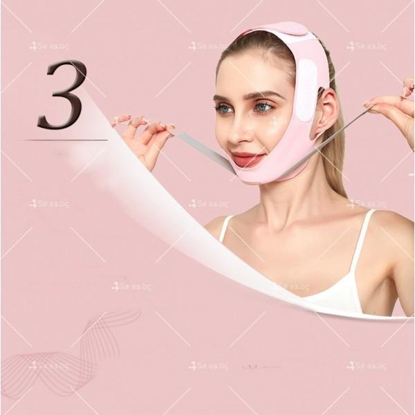 V - образна маска за лицето с лифтинг ефект, оформя, повдига и стяга TV628 4