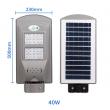 Соларна водоустойчива LED лампа за открито 40W с детектор за движение H LED18-2B 2