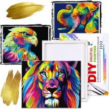 Wildbrush aкрилни платна за оцветяване с изображения на животни с четки и бои
