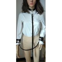 Комплект от чокър с каишка и кожени белезници - STL-108-D
