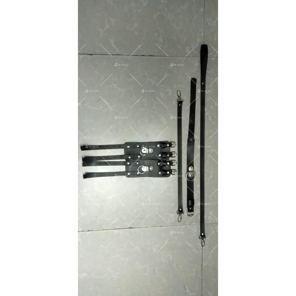 Комплект от чокър с каишка и кожени белезници - STL-108-D 2