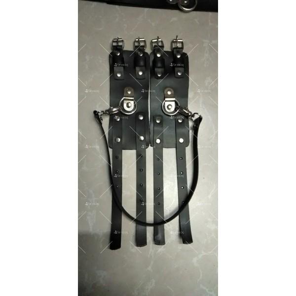 Комплект от чокър с каишка и кожени белезници - STL-108-D 3