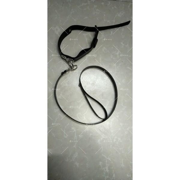 Комплект от чокър с каишка и кожени белезници - STL-108-D 4
