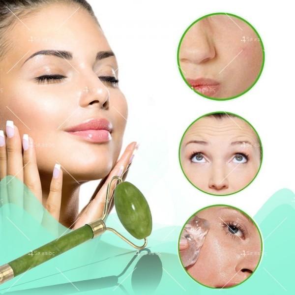 Нефритен масажор за лице с 2 ролки, в комплект с плосък нефритен камък TV645 2
