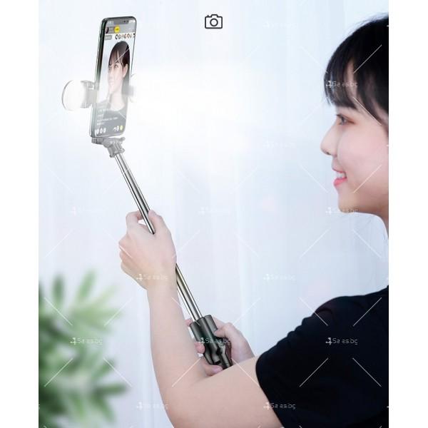 Сгъваем селфи стик с LED светлини, трипод и ъгъл на завъртане на 360° ST1 12