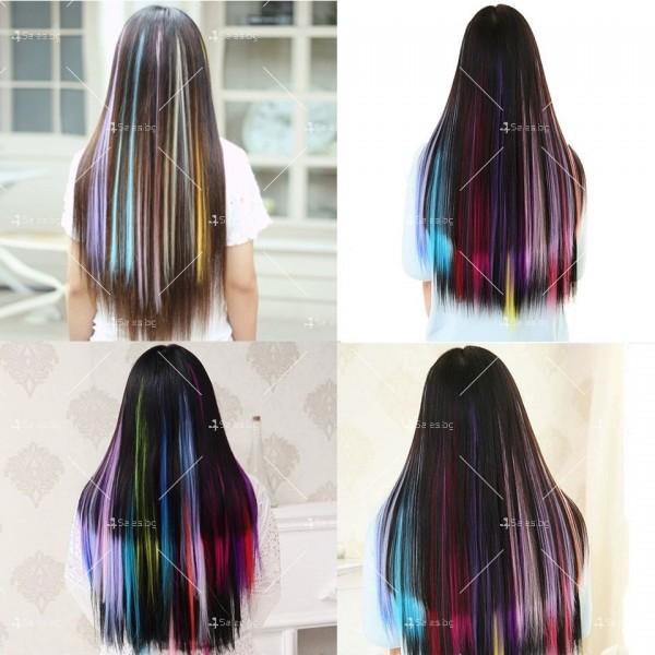 Цветни синтетични кичури коса за удължаване с клипс, дължина 20 инча - F13