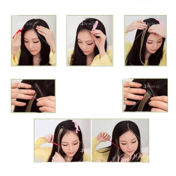 Цветни синтетични кичури коса за удължаване с клипс, дължина 20 инча - F13 8