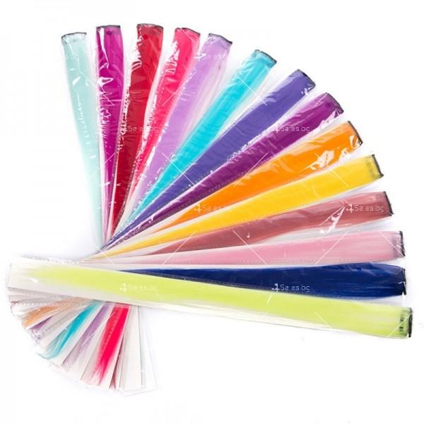 Цветни синтетични кичури коса за удължаване с клипс, дължина 20 инча - F13 9