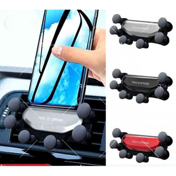 Сгъваема стойка за мобилни устройства за автомобил с щипка ST7 1
