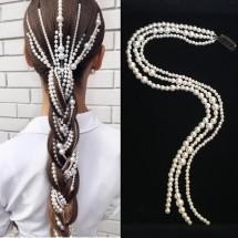 Моден аксесоар за вплитане в косата с перли F18