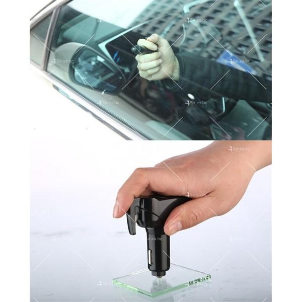 Инструмент за аварийно бягство, нож за рязане на колан и двойно USB зарядно TV601 7