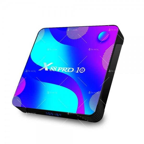 Смарт TV бокс X88 pro10 Android 10.0, четири-ядрен HD плейър, HDMI, Wi-Fi, WLan 8