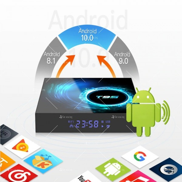Смарт TV декодер T95 4G+128G, Android 10.0, Allwinner H616, 6K HD, мултиплейър 6