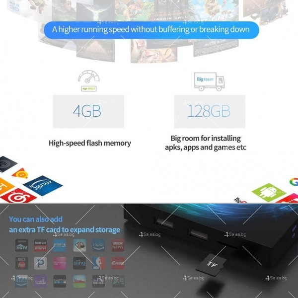 Смарт TV декодер T95 4G+128G, Android 10.0, Allwinner H616, 6K HD, мултиплейър 14