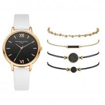 Дамски кварцов часовник + 4 гривни подарък W WATCH9