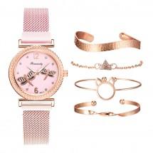 Кварцов дамски часовник водни кончета с комплект гривни Rinnandy W WATCH10