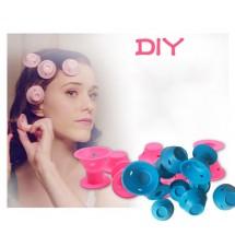 Комплект от 10 броя силиконови ролки за коса в розов или син цвят TV676