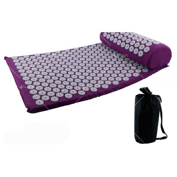 Йога мат с възглавничка с вградени шипове за акупунктурен масаж TV678 17