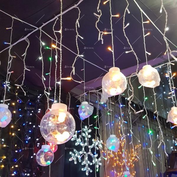 Празнични LED светлини топка с 10 топки в бяла студена и бяла топла светлина 1