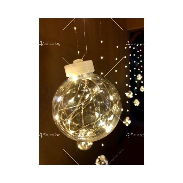 Празнични LED светлини топка с 10 топки в бяла студена и бяла топла светлина 2