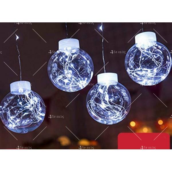 Празнични LED светлини топка с 10 топки в бяла студена и бяла топла светлина