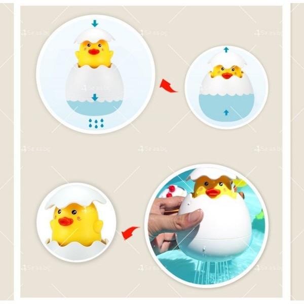 Детска забавна играчка за вана жълто пате в яйце WJ20 5