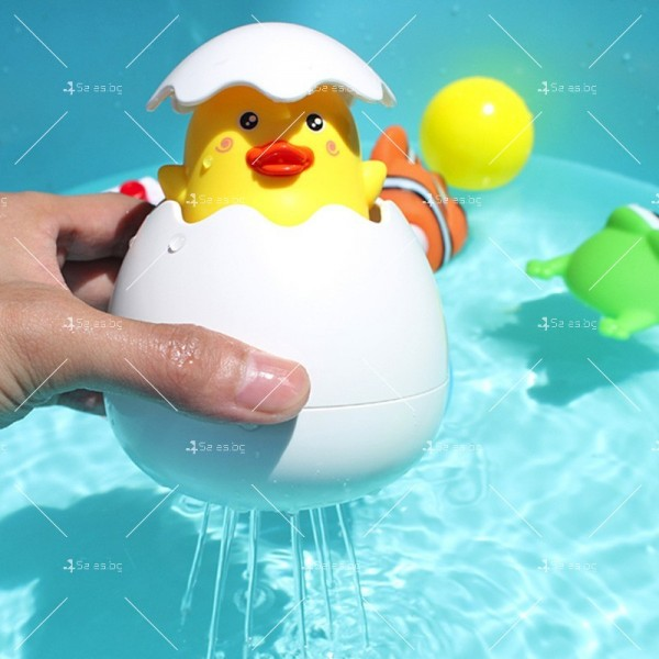 Детска забавна играчка за вана жълто пате в яйце WJ20 11