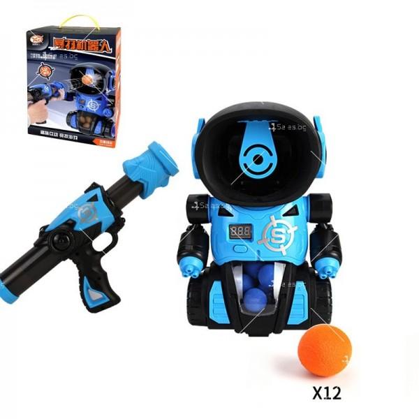 Детска игра с обстрелване на робот с меки топчета и пушка в комплекта WJ21