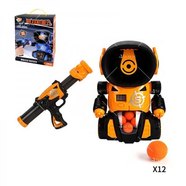 Детска игра с обстрелване на робот с меки топчета и пушка в комплекта WJ21 2