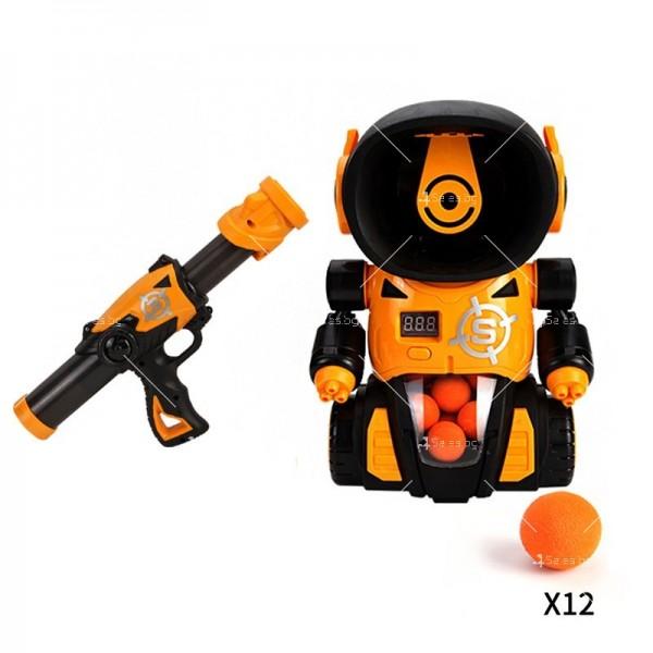 Детска игра с обстрелване на робот с меки топчета и пушка в комплекта WJ21 3