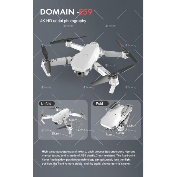 Сгъваем мини дрон с дистанционно управление 4К HD Е59 20