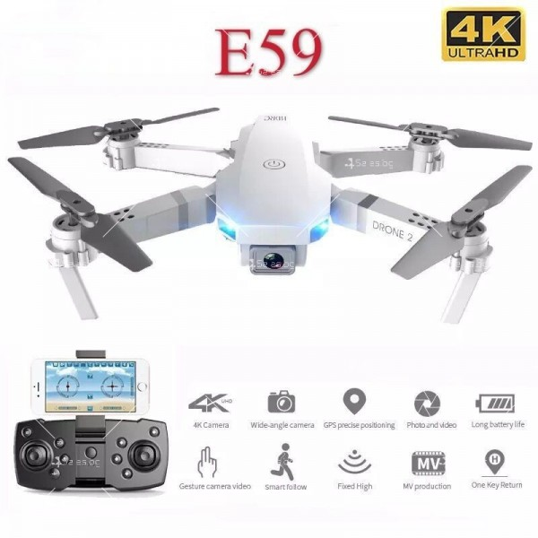 Сгъваем мини дрон с дистанционно управление 4К HD Е59 2