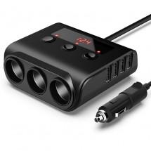 Разклонител за запалка на кола с 3 гнезда, 4 USB порта CA25