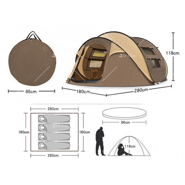 Палатка с автоматичен механизъм на сглобяване предназначена до 4 души - PALAT8 6