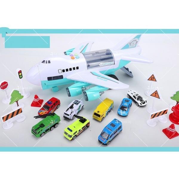 Комплект играчка самолет с писта за колички + 8 колички - WJ6 6