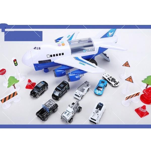Комплект играчка самолет с писта за колички + 8 колички - WJ6 8