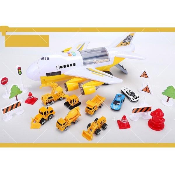 Комплект играчка самолет с писта за колички + 8 колички - WJ6 10
