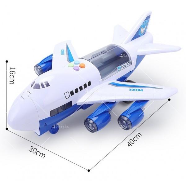 Комплект играчка самолет с писта за колички + 8 колички - WJ6 13