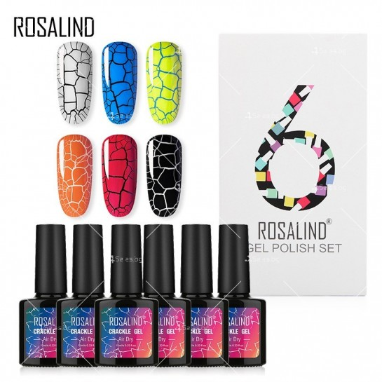 Политемпературен лак за нокти с ефект цветни пукнатини 6 броя ROSALIND - ZJY110