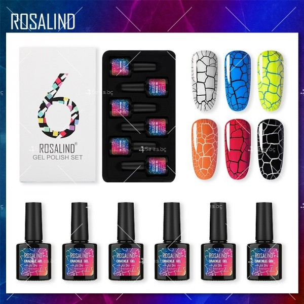 Политемпературен лак за нокти с ефект цветни пукнатини 6 броя ROSALIND - ZJY110 2