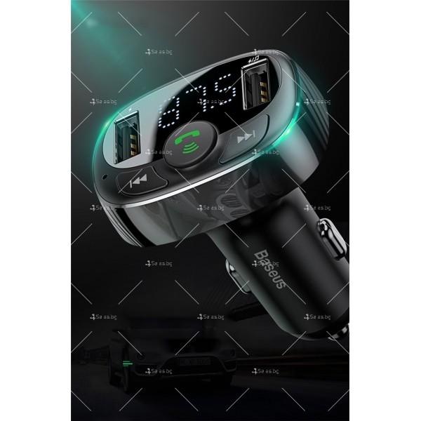 Автомобилно Bluetooth и MP3 fast charging зарядно устройство Baseus T Cat - HF60 1