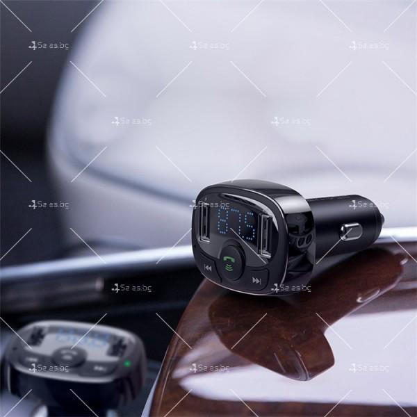 Автомобилно Bluetooth и MP3 fast charging зарядно устройство Baseus T Cat - HF60 5
