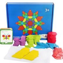 Детски дървен пъзел с геометрични форми от 155 части - WJ19