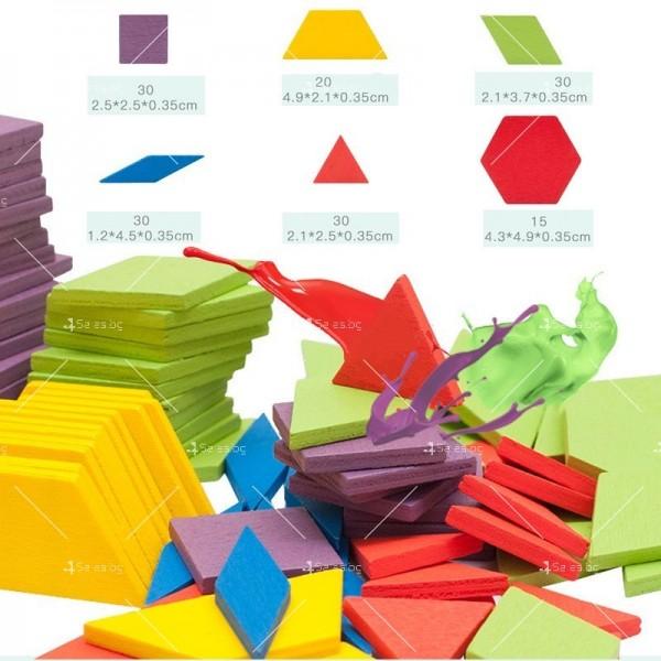 Детски дървен пъзел с геометрични форми от 155 части - WJ19 2