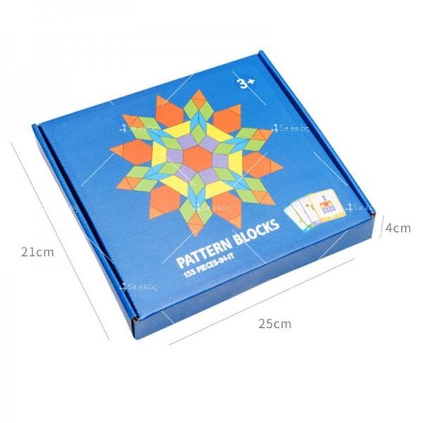 Детски дървен пъзел с геометрични форми от 155 части - WJ19 4