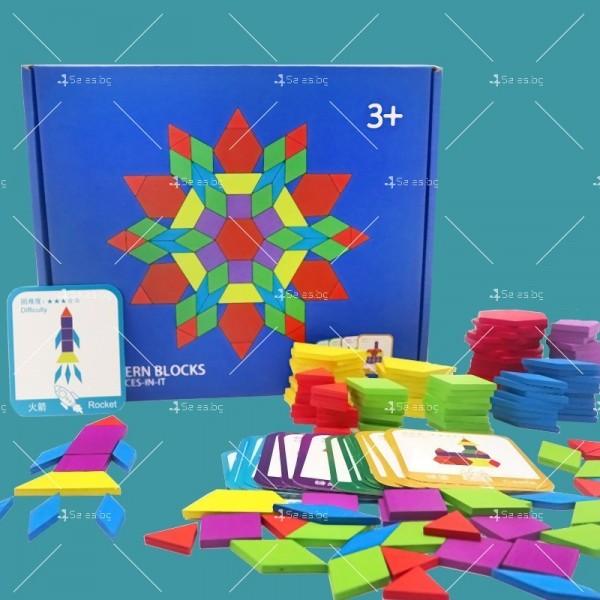 Детски дървен пъзел с геометрични форми от 155 части - WJ19 5